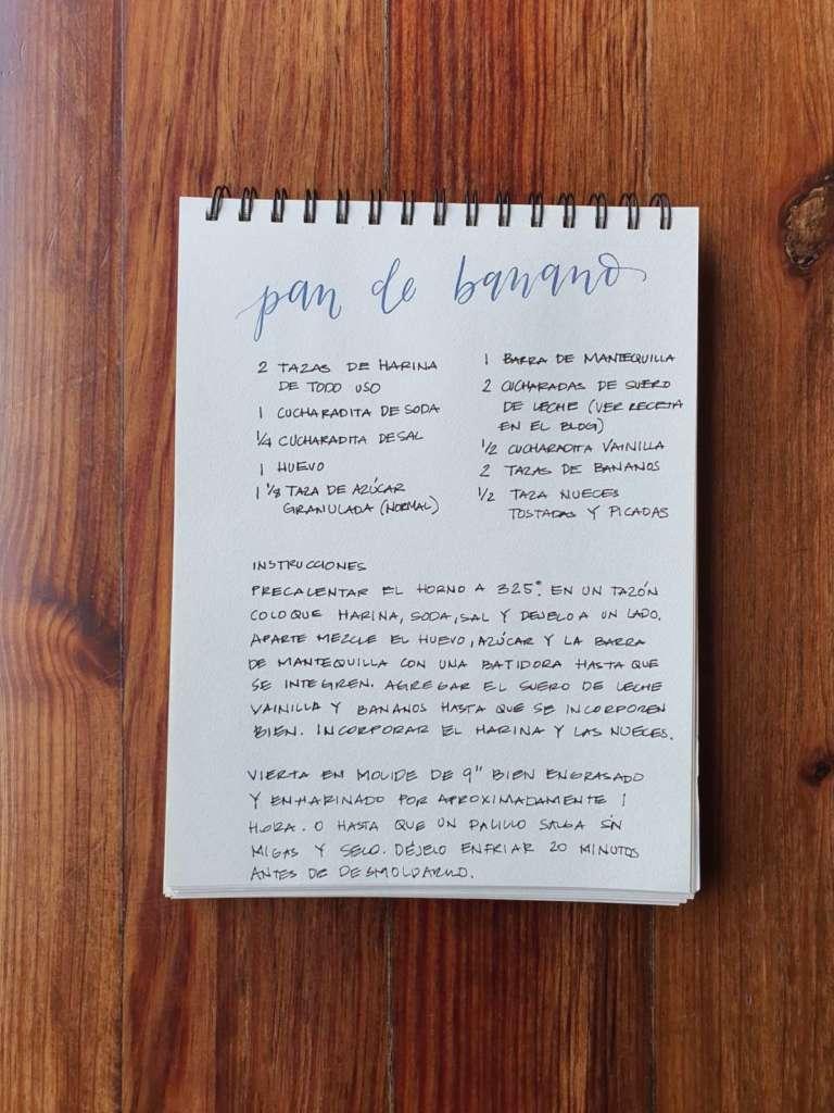 receta pan de banano